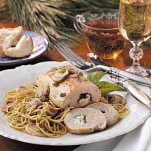 Chicken Rolls with Pesto Pasta