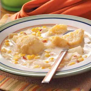 Corn Chowder with Dumplings