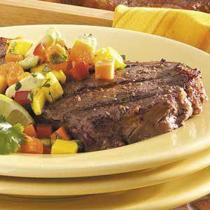 Strip Steaks with Mango Salsa