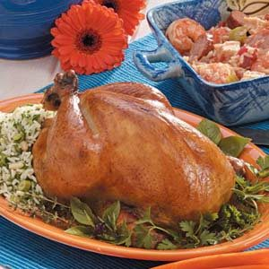 Roasted Chicken with Basil-Rice Stuffing
