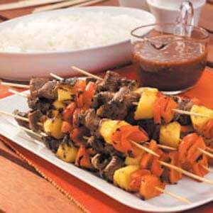 Zippy Peanut Steak Kabobs