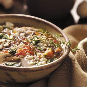 Mushroom Spinach Barley Soup