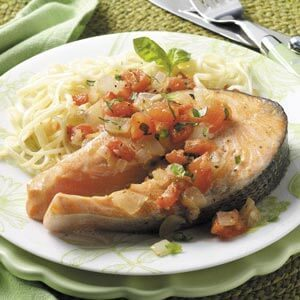 Tomato-Basil Salmon Steaks