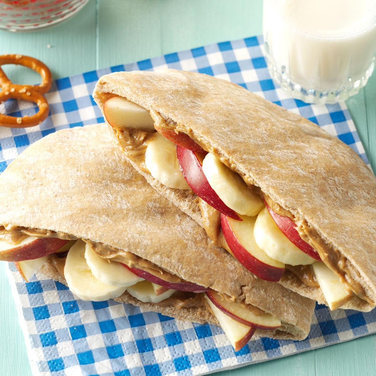 fruity peanut butter pitas recipe | taste of home