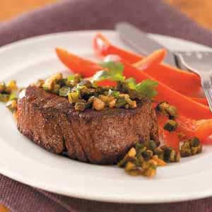 Steaks with Poblano Relish