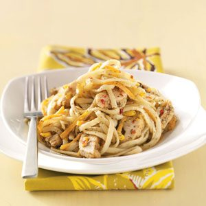Linguine Pesto with Italian Chicken Strips