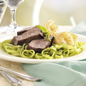 Turf 'n' Surf with Pesto Sauce Pasta