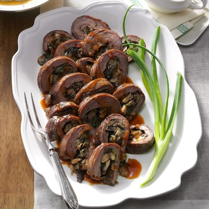Mushroom-Stuffed Flank Steak Roll