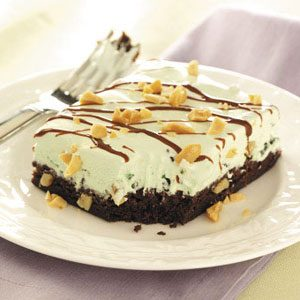 Mint Sundae Brownie Squares