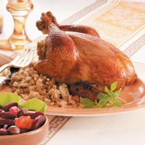 Cornish Hens with Almond Stuffing