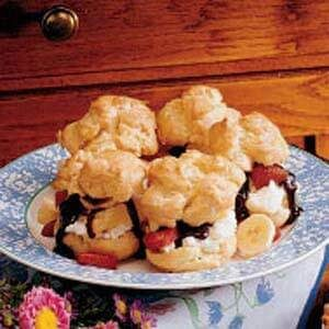 Banana Split Cream Puffs