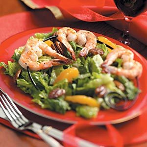 Romaine Pecan Salad with Shrimp Skewers