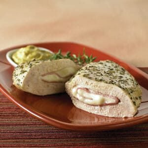 Ham and Swiss Stuffed Chicken Breast with Mustard Sauce