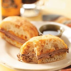 Cheddar French Dip Sandwiches