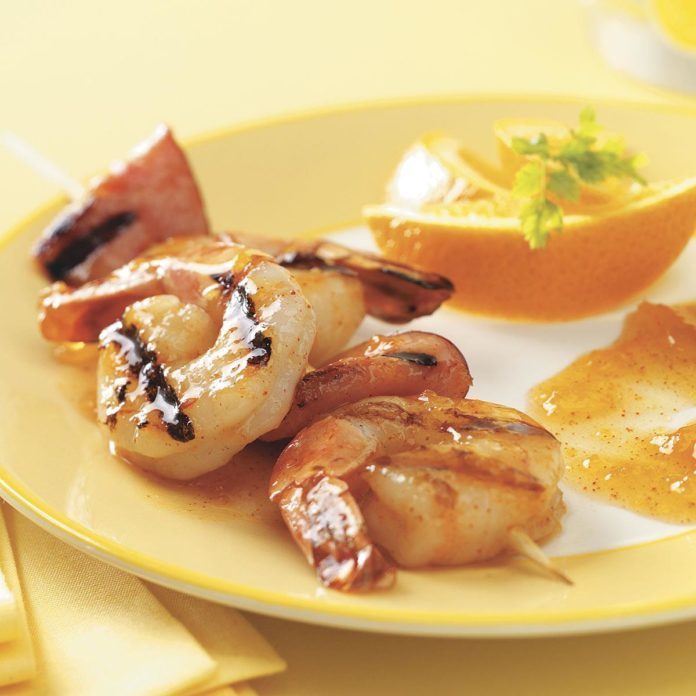 Grilled Shrimp with Apricot Sauce for 2