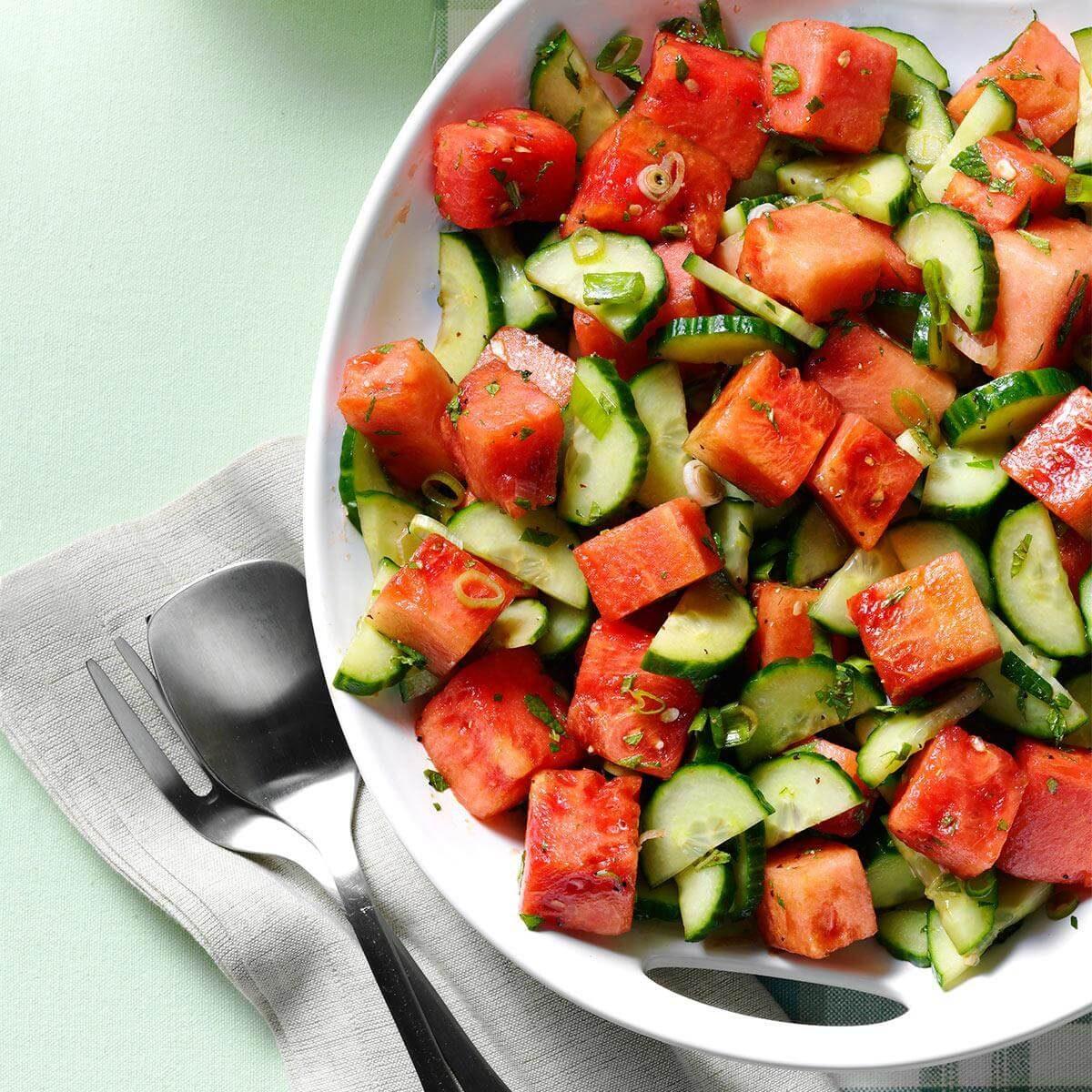 Minty Watermelon-Cucumber Salad Recipe
