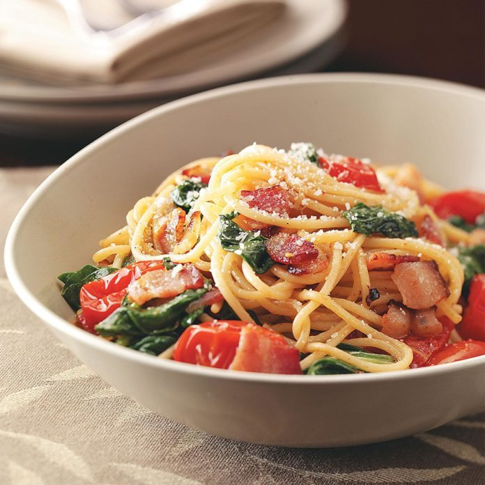 Bacon & Tomato Spaghetti Recipe | Taste of Home