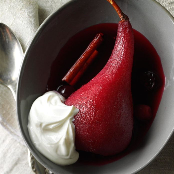 Pears and Cranberries Poached in Wine