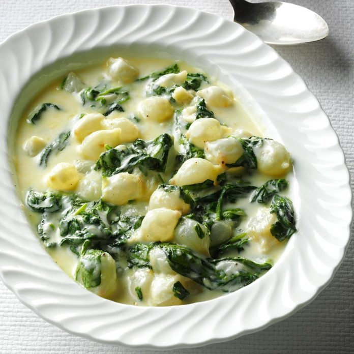 Onions: Creamed Spinach & Pearl Onions