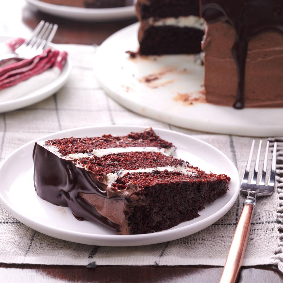 Three-Layer Chocolate Ganache Cake Recipe | Taste of Home