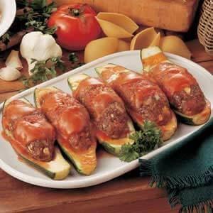 Meatball Stuffed Zucchini