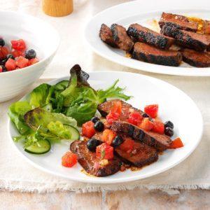 Ancho Garlic Steaks with Summer Salsa