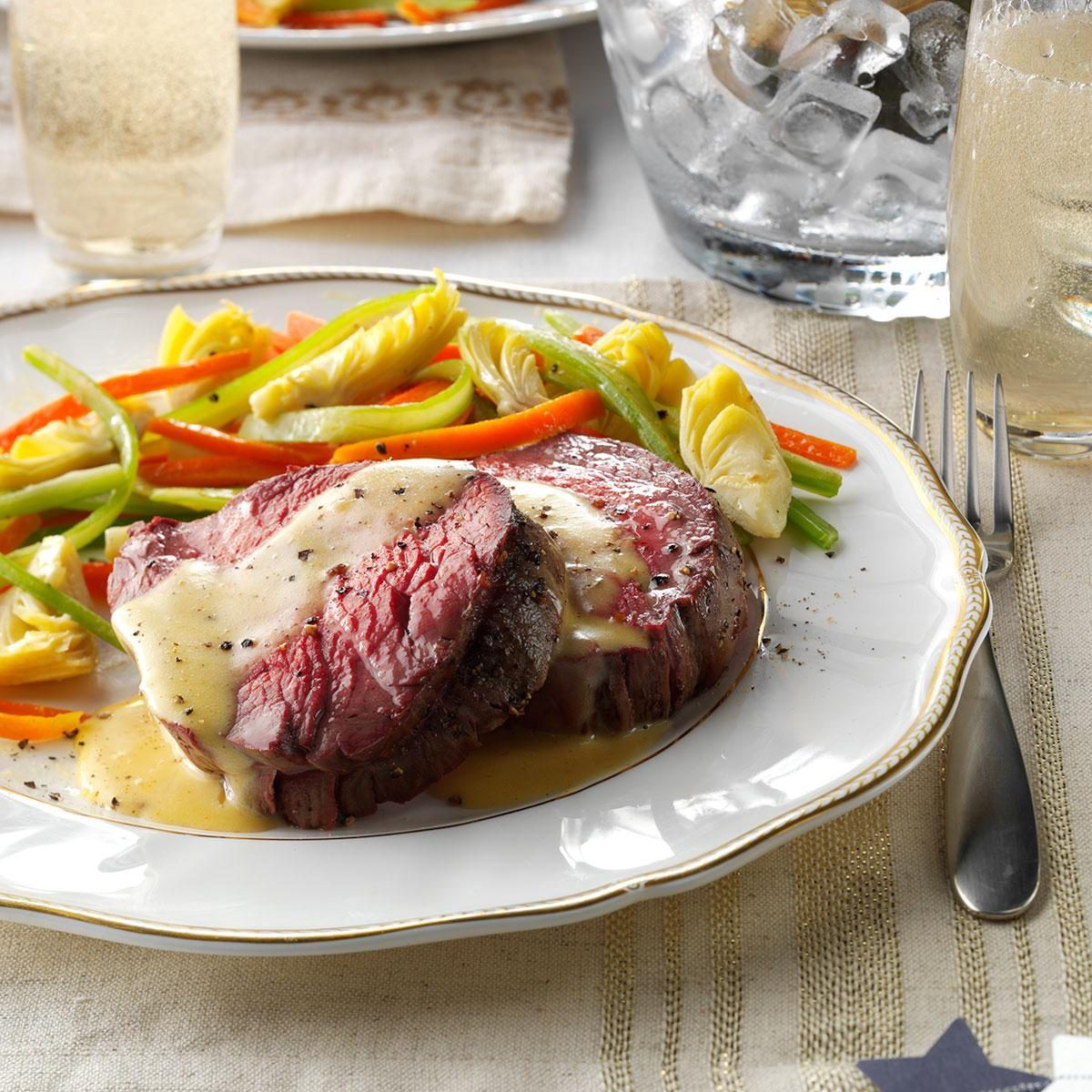 Beef Tenderloin With Sauteed Vegetables Recipe