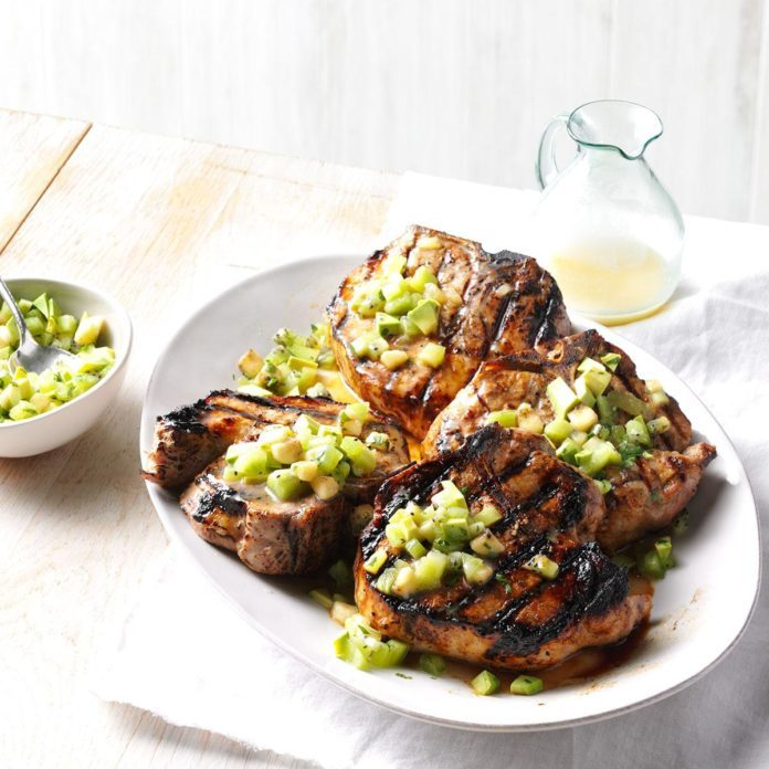 Pina Colada Pork Chops with Tropical Fruit Salsa