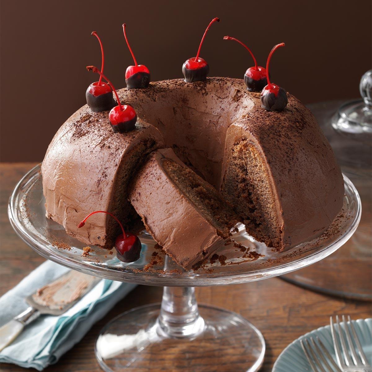 Chocolate-Cherry Brownie Cake Recipe | Taste of Home