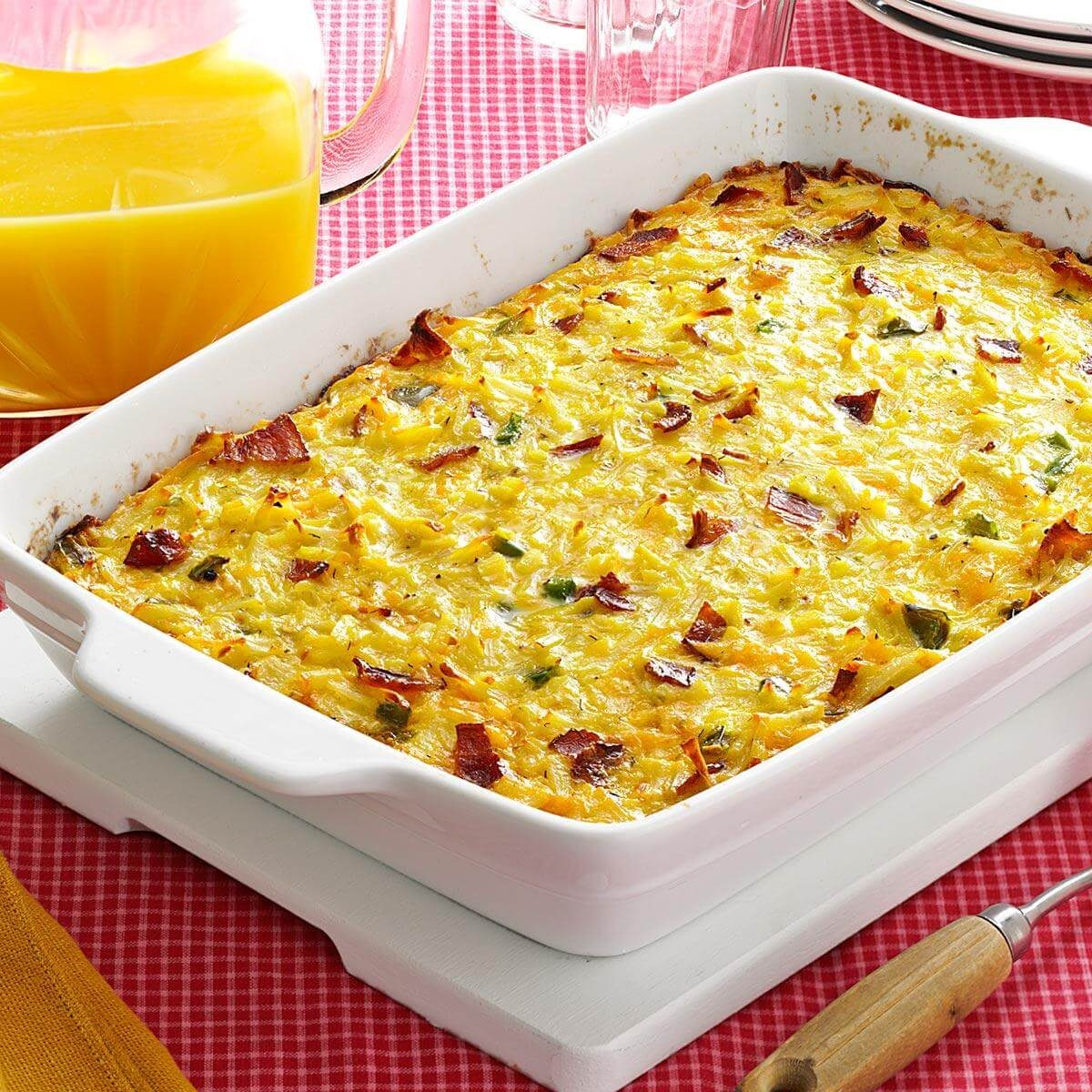 Brunch Hash Egg Bake Recipe: Cheesy Hash Brown Egg Casserole With Bacon Recipe