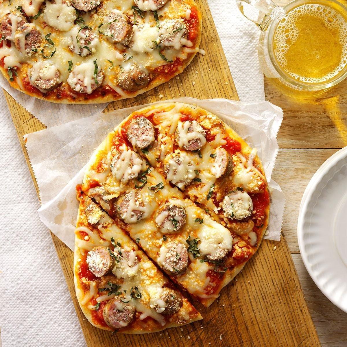 grilled sausage basil pizzas recipe taste of home. Black Bedroom Furniture Sets. Home Design Ideas