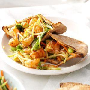 Spicy Shrimp-Slaw Pitas