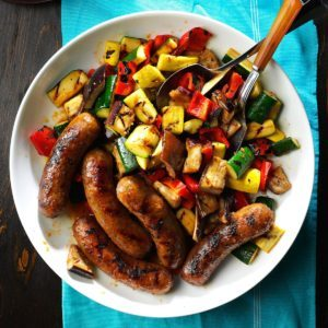 Grilled Sausages with Summer Vegetables