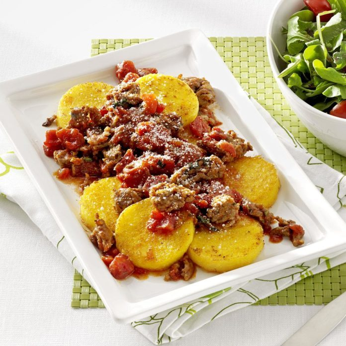Polenta Rounds with Sausage Ragout
