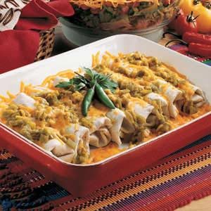 Beef and Bean Green Chili Burritos