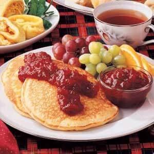 Eggnog Pancakes with Cranberry Sauce