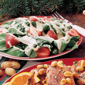 Spinach Salad with Peanut Dressing