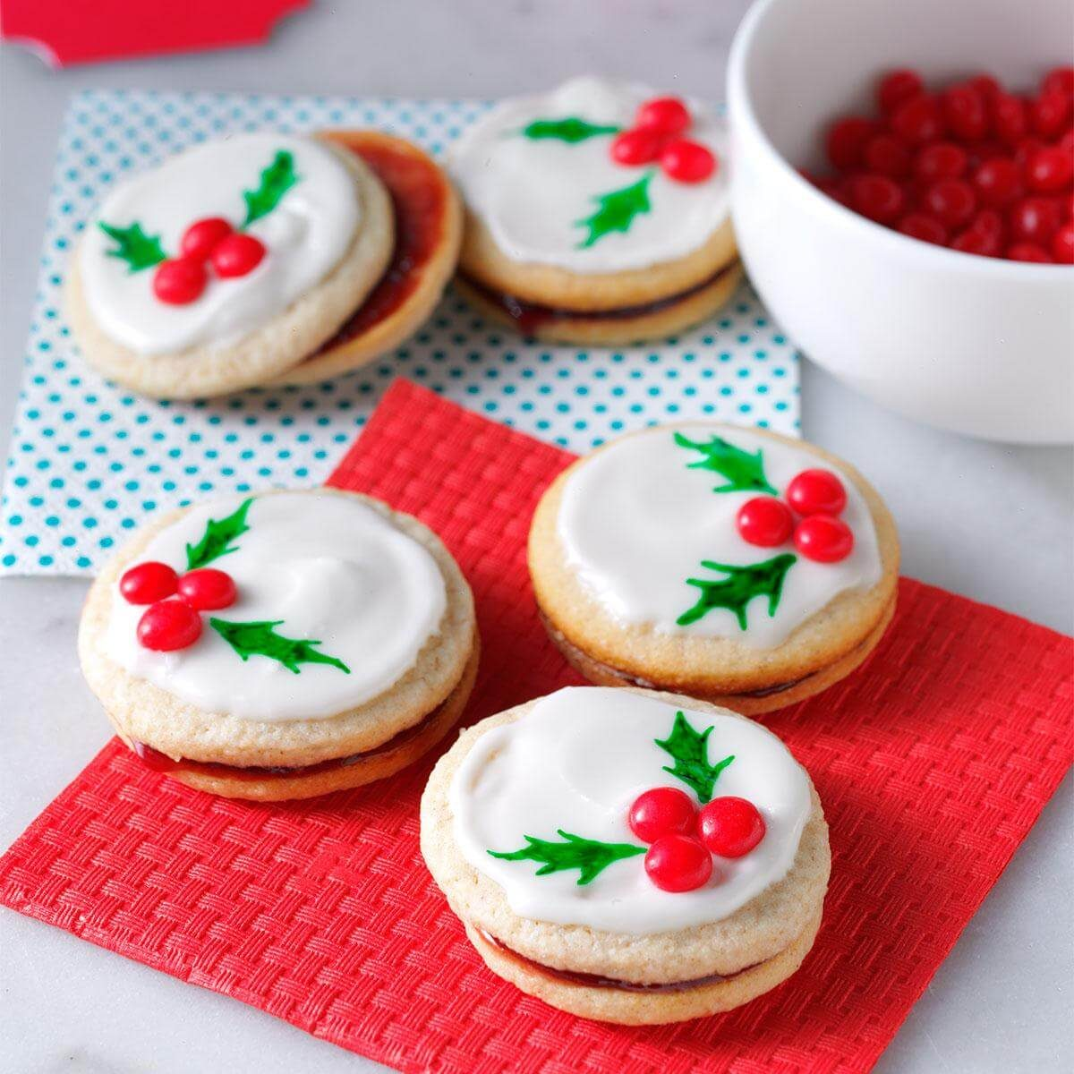 30 Plus Festive Christmas Cookie Recipes: Holly Berry Cookies Recipe