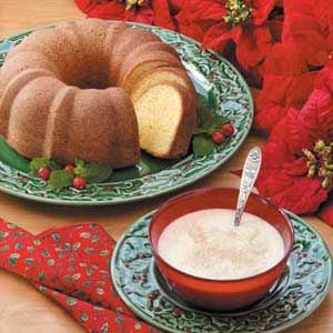 Eggnog Poundcake with Custard Sauce