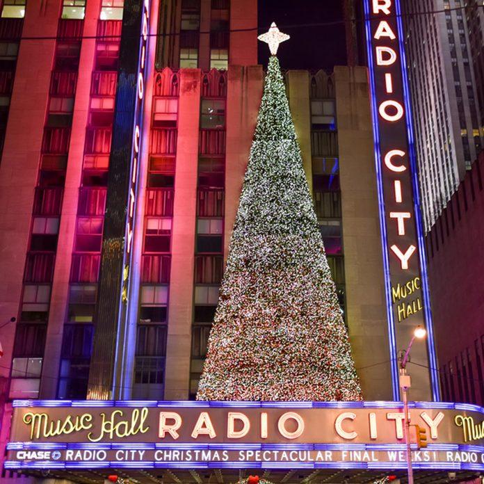 NEW YORK, NEW YORK - DECEMBER 25, 2014: Radio City Music Hall at night in New York during the holidays.; Shutterstock ID 252495766