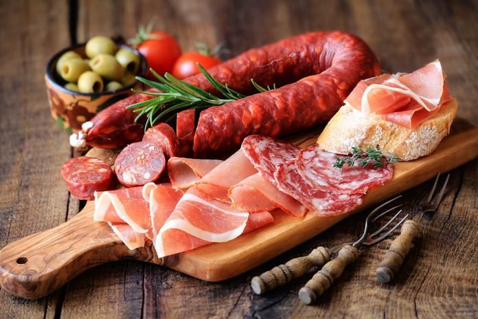 Cured meat platter of traditional Spanish tapas