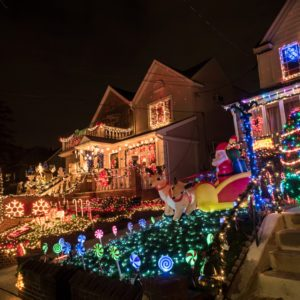 Night view of houses with Christmas Lights in the suburban Brooklyn neighborhood of Dyker Heights