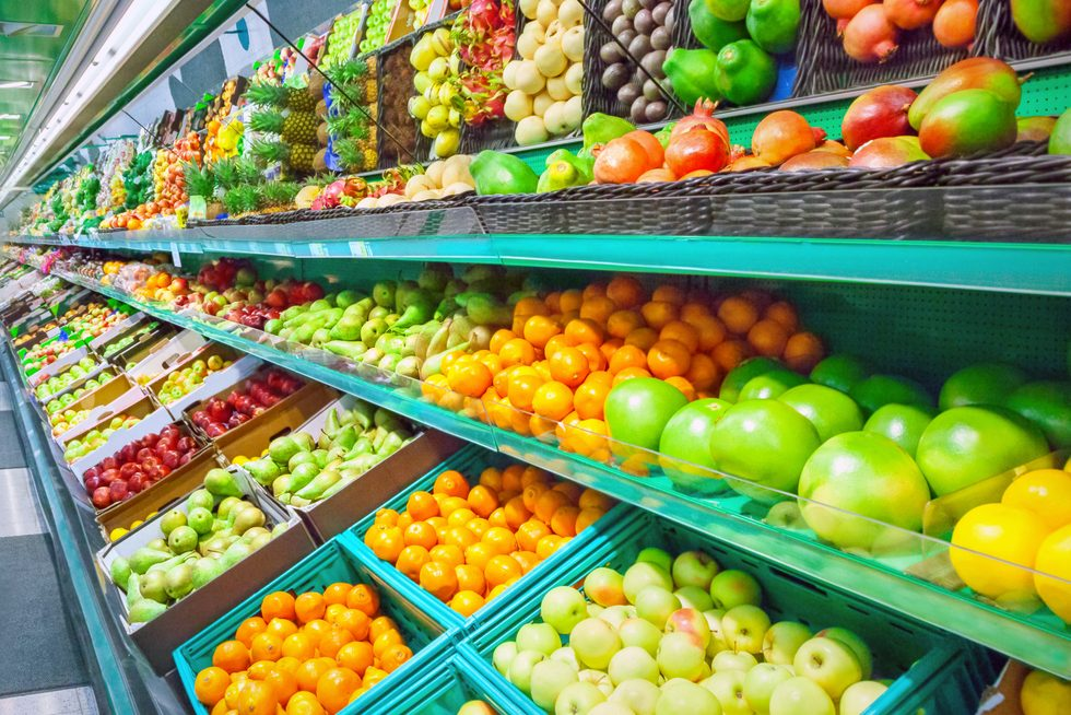 Fruits in the produce section at a supermarket; Shutterstock ID 714065293