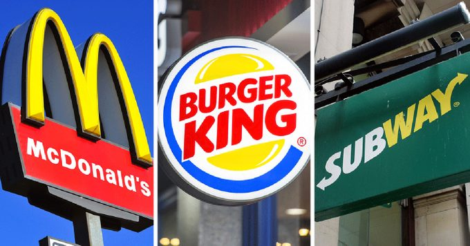 Logos from McDonalds, Burger King and Subway side-by-side