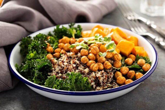 Buddha bowl with quinoa and garbanzo beans