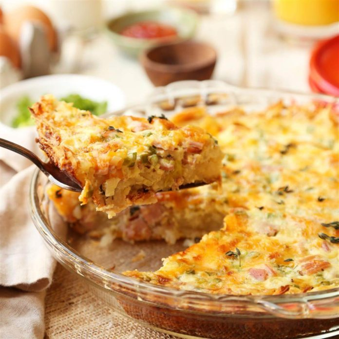 Canadian Bacon Hash Brown Quiche
