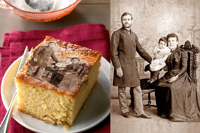 Split picture with one side with a slice of cake on a plate and the other a black and white photo of a family