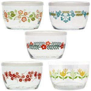 Five different floral patterned bowls