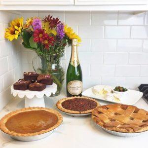 Friendsgiving dessert table.