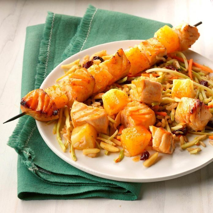 Korean Salmon Skewers with Rice Slaw